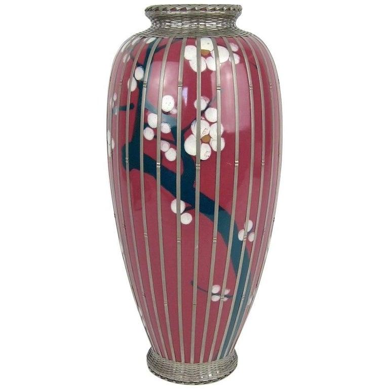 Early 20th Century Japanese Glazed Pottery Prunus Vase with Basket Weave Overlay