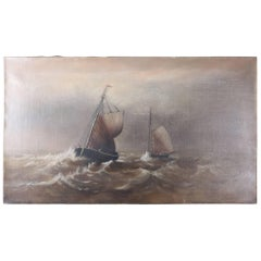 Antique Maritime Oil on Canvas Seascape with Sailing Ships, 19th Century