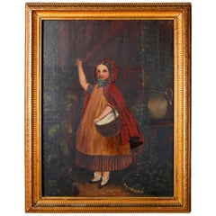 Antique Oil on Canvas Folk Art Portrait Painting of Young Girl in Red Cape