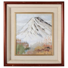 Japanese Chigirie Work of Mt. Fuji by Master Seino Kozaki, 20th Century