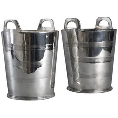 Early 20th Century Pair of Silver Plated Wine Coolers or Ice Buckets