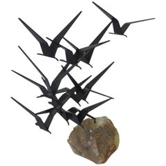Curtis Jere Metal and Stone Bird Sculpture