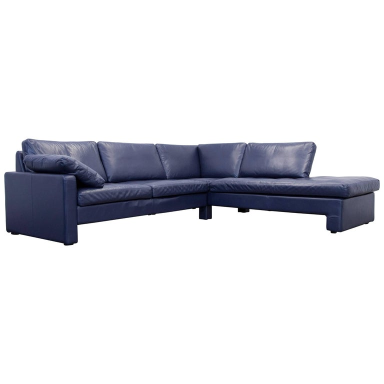 cor conseta designer leather corner couch blue modern for sale at 1stdibs. Black Bedroom Furniture Sets. Home Design Ideas