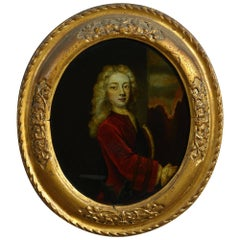 Early 18th Century Reverse Glass Print, Oval Portrait of a Gentleman