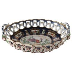English Booths Hand-Painted Porcelain Reticulated Bread Bowl, 19th Century