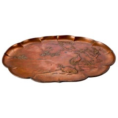 Antique Japanese Aesthetic Bas Relief Coppered Tray with Heron, Signed