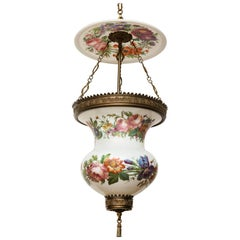Brass Bound Porcelain Bell Jar Lantern