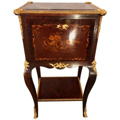 Fine Louis XV Style Bar Cabinet with Gilt Bronze Mounts and Floral Marquetry