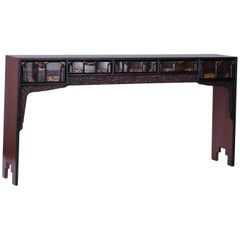 Chinoiserie Painted Five-Drawer Console or Altar Table