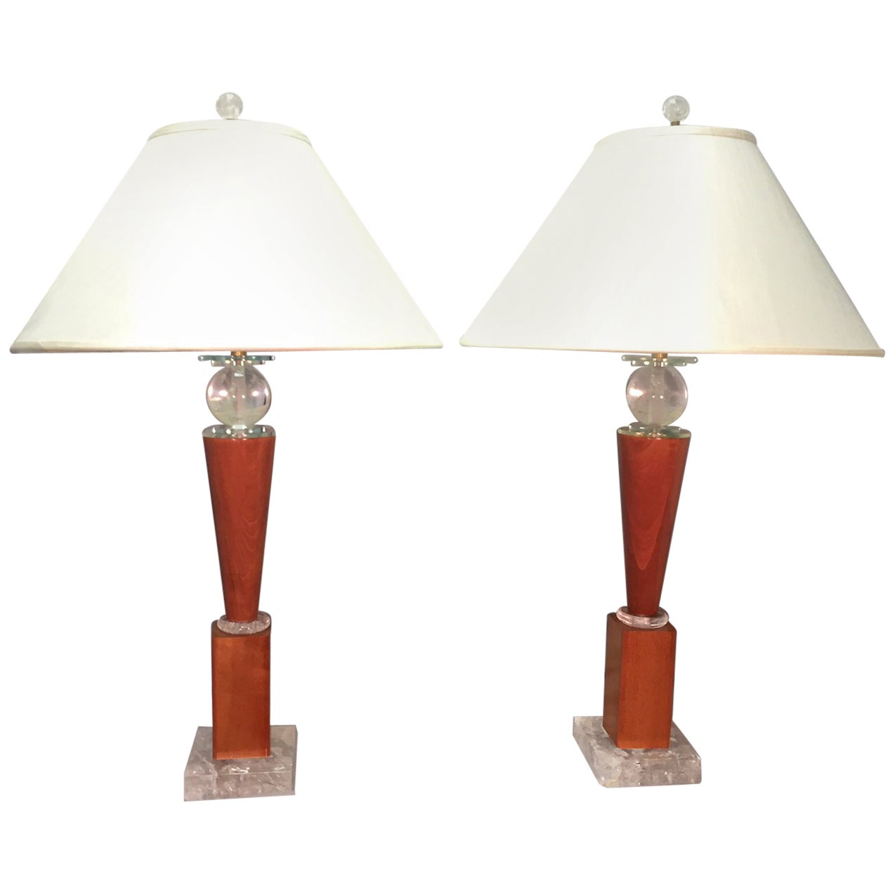 Pair of Modern Rock Crystal and Wood Lamps with Dupioni Silk Shades