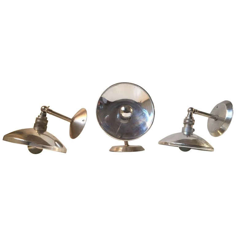 Vintage French Industrial Wall Lamps, 1950s, Set of Three