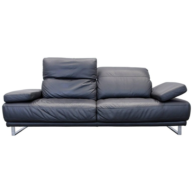 ewald schillig designer leather sofa three seat couch black anthrazit function for sale at 1stdibs. Black Bedroom Furniture Sets. Home Design Ideas