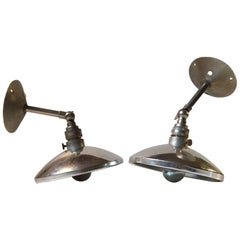 Pair of Vintage French Industrial Wall Lamps, 1950s