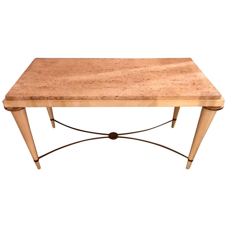 Mid-Century Modern Coffee Table Inset Travertine Marble