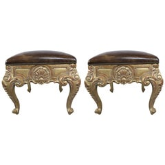 Pair of French Giltwood Leather Upholstered Benches