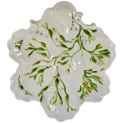 French Limoges Cadeaux Hand-Painted Seaweed Leaf Shaped Oyster Plate