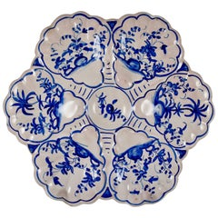 French Faïence Delft-Style Hand-Painted Blue and White Floral Oyster Plate