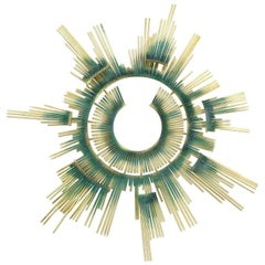 Curtis Jere Wall Sculpture, Brass and Applied Patina