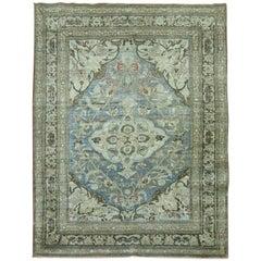 Blue Gray Tone Antique Persian Tabriz Rug