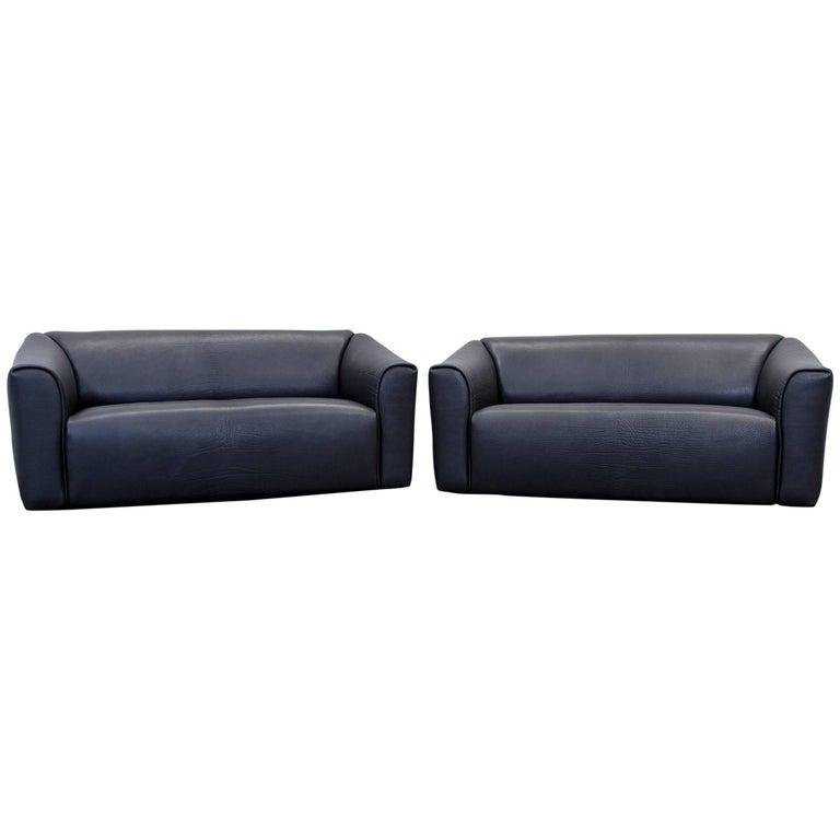de sede ds 47 designer sofa set neck leather black two. Black Bedroom Furniture Sets. Home Design Ideas