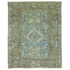 Soft Blue Persian Heriz Square Rug