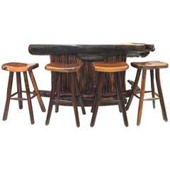 Rare Rosewood Bar and Stools