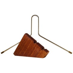 Vintage Danish Floating Teak, Brass and Steel Coat Hanger, 1960s