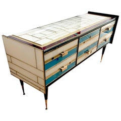 Rare, Gilt Brass and Enameled Glass Sideboard French, 1960s