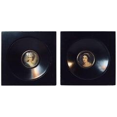 Pair of Vintage Italian Miniature Portraits Both Signed