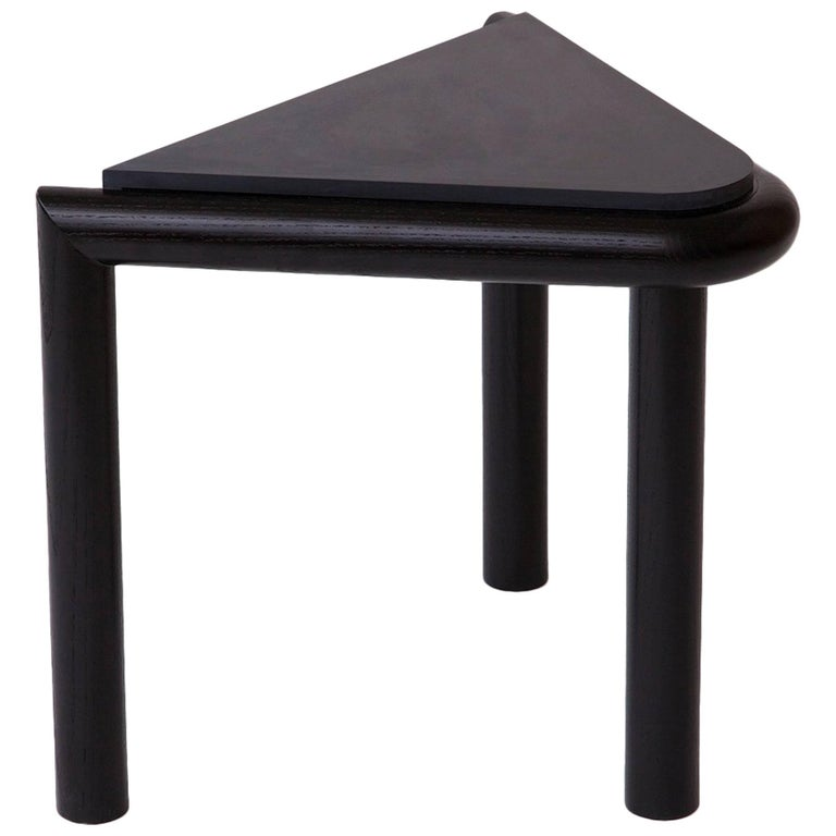 Troika Stool / Side Table in Ash and Corian 'Black'