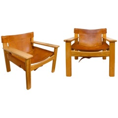 "Pair of Leather and Pine ""Natura"" Chairs by Karin Mobring"