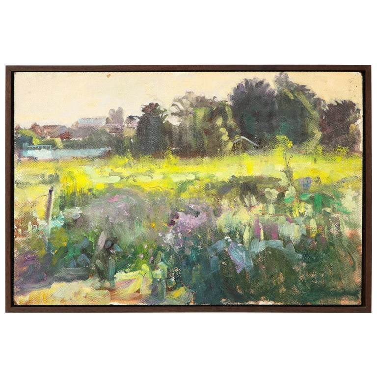 Framed California Landscape with Yellow and Purple Floral Details For Sale