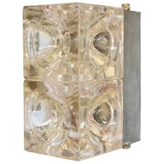 Italian Murano Cube Glass Sconce or Flush Mount by Poliarte