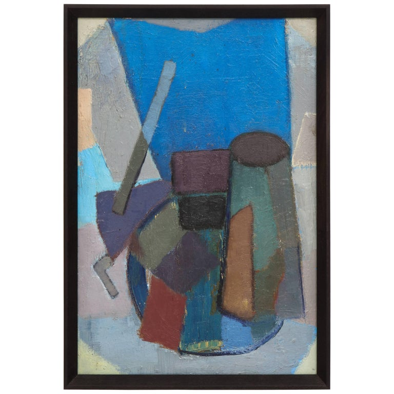 Vintage Cubist Painting with Cobalt Blue and Brown Details 1