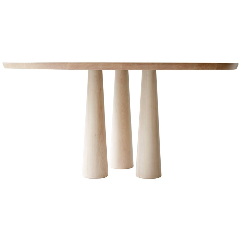 Three Legged Canopy Table Dining Table in Bleached Maple