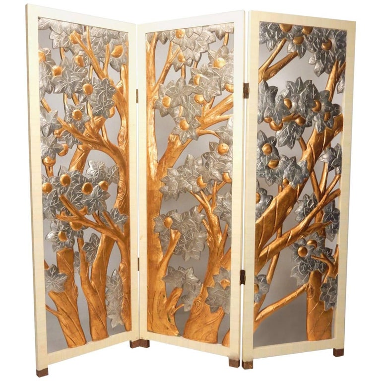 Beautiful Art Nouveau Style Gold-Silver Leaf Tree Relief Room Divider Screen  LS99