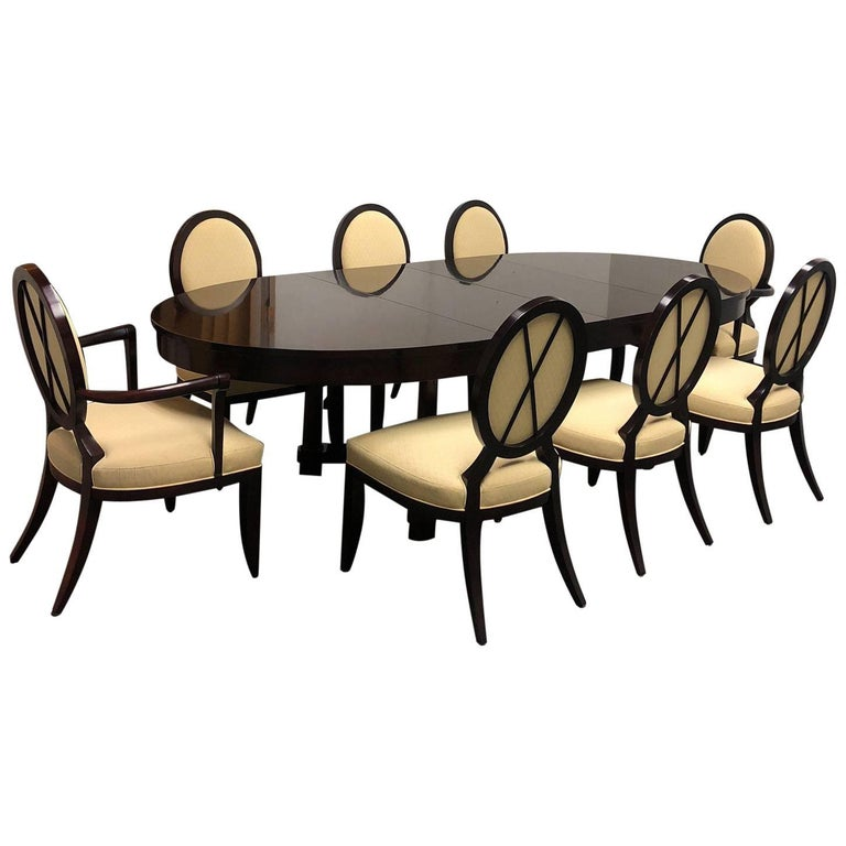 barbara barry oval dining table and eight oval x back