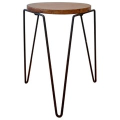 1950s Inco Iron and Wood Side Table or Stool