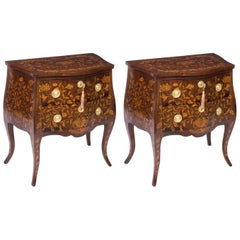 Antique Pair of Dutch Marquetry Walnut Bedside Chests, circa 1790