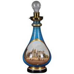 """Antique Porcelain Table Lamp """"Schweriner Castle"""", circa 1880"""
