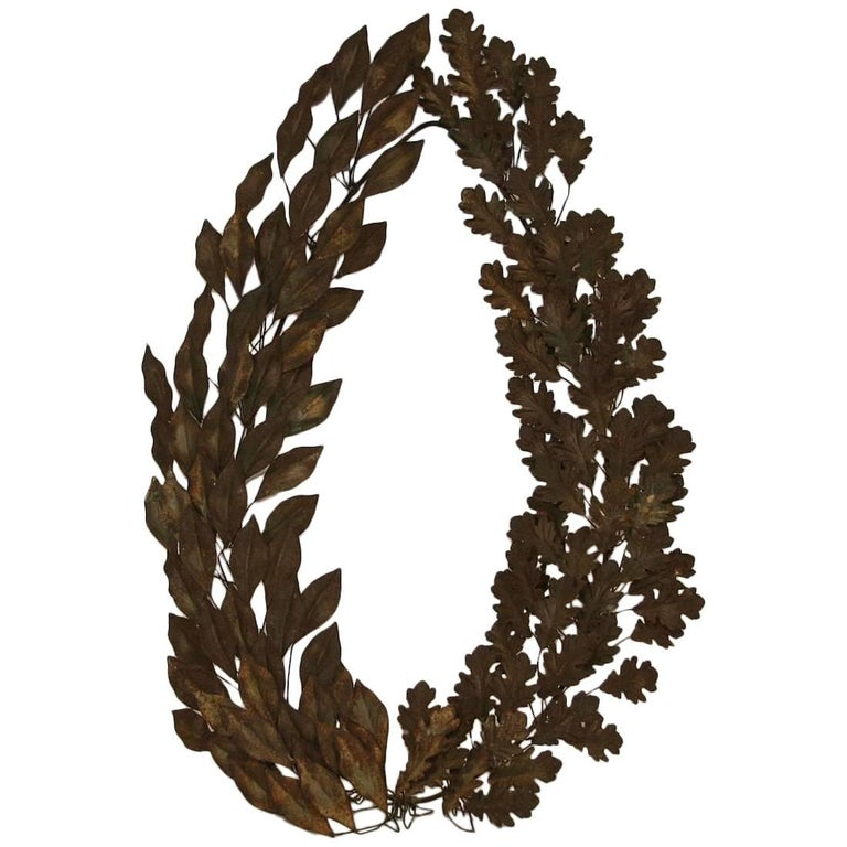 19th Century French Iron Laurel Wreath For Sale