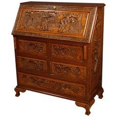 Dutch Bureau Desk In Carved Wood, 20th Century