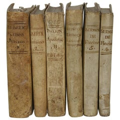 Great Collection of Six Spanish 18th Century Weathered Vellum Books