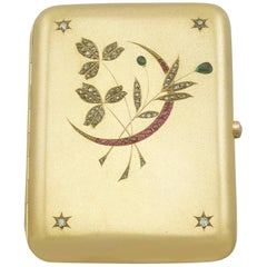 1900s Diamond, Ruby and Emerald, Austrian Yellow Gold Cigarette Case