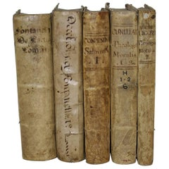 Great Collection of Five Spanish Very Large 17th-18th Century Vellum Books
