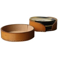 Carl Auböck Set of Six Horn Coasters and Leather Case