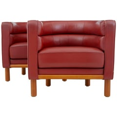 Pair of Large, 1970s Red Leather Club Armchairs