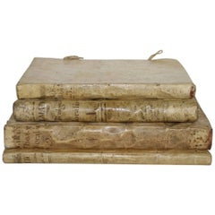 Great Collection of four Italian or Spanish Large 17th-18th Century Vellum Books