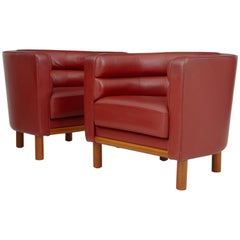 Pair of 1970s Large Red Leather Club Armchairs