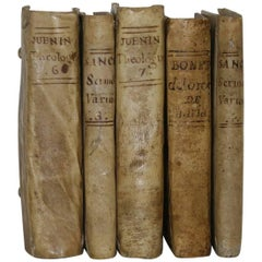 Great Collection of Five Italian/Spanish 18th Century Weathered Vellum Books